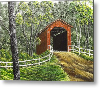 Sandy Creek Covered Bridge Metal Print by Don Bowling