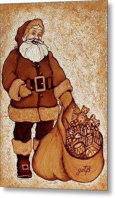 Santa Claus Bag Metal Print by Georgeta  Blanaru