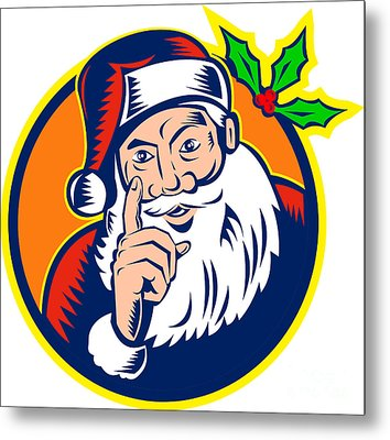 Santa Claus Father Christmas Retro Metal Print by Aloysius Patrimonio