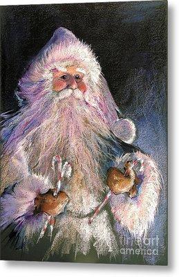 Santa Claus - Sweet Treats At Fireside Metal Print by Shelley Schoenherr