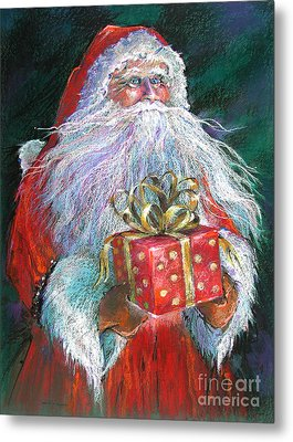 Santa Claus - The Perfect Gift Metal Print by Shelley Schoenherr