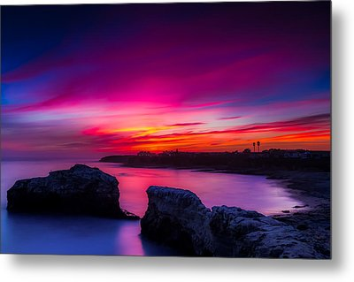 Santa Cruz Cliffs Sunset Photo Santa Cruz California Metal Print by Dave Gordon