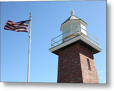 Santa Cruz Lighthouse Surfing Museum California 5d23951 Metal Print by Wingsdomain Art and Photography