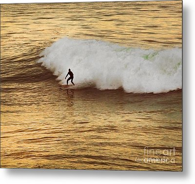 Santa Cruz Surfing At The Golden Hour Metal Print by Artist and Photographer Laura Wrede