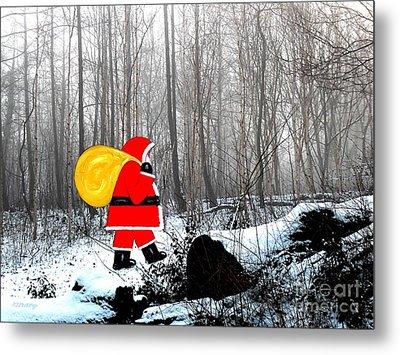 Santa In Christmas Woodlands Metal Print by Patrick J Murphy