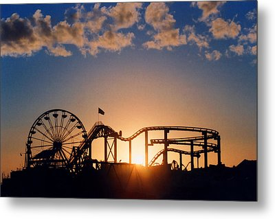 Santa Monica Pier Metal Print by Art Block Collections