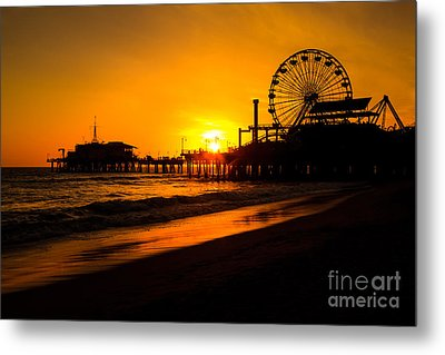 Santa Monica Pier California Sunset Photo Metal Print by Paul Velgos