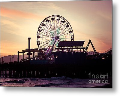 Santa Monica Pier Ferris Wheel Retro Photo Metal Print by Paul Velgos