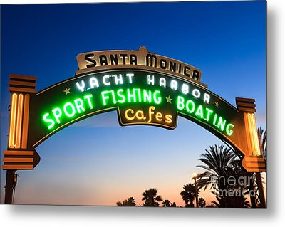 Santa Monica Pier Sign Metal Print by Paul Velgos