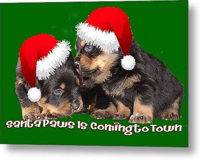 Santa Paws Is Coming To Town Christmas Greeting Metal Print by Tracey Harrington-Simpson