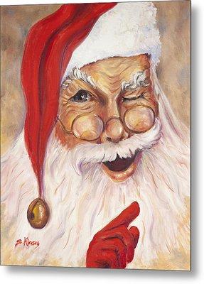 Santa Winking I Metal Print by Sheila Kinsey