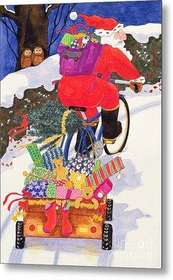 Santas Bike Metal Print by Linda Benton