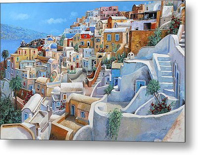 Santorini A Colori Metal Print by Guido Borelli