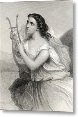 Sappho,illustration From World Noted Women By Mary Cowden Clarke, 1858 Engraving Metal Print by Pierre Gustave Eugene Staal