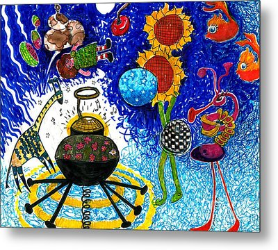 Satelite Critters Metal Print by Genevieve Esson