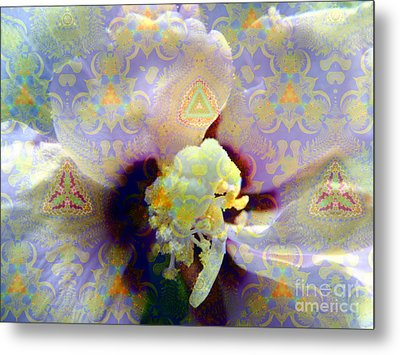 Satin Flower Fractal Kaleidoscope Metal Print by Renee Trenholm