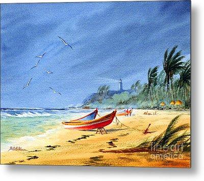 Saving The Fishing Boats - Maunabo Beach Puerto Rico Metal Print by Bill Holkham