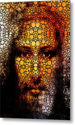 Savior - Stone Rock'd Jesus Art By Sharon Cummings Metal Print by Sharon Cummings