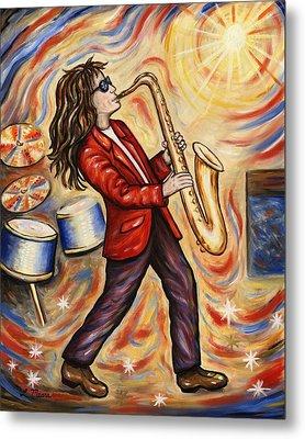 Sax Man Metal Print by Linda Mears