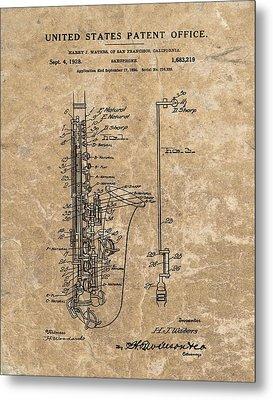 Saxophone Patent Design Illustration Metal Print by Dan Sproul