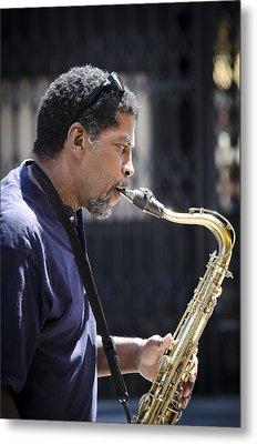 Saxophone Player Metal Print by Carolyn Marshall