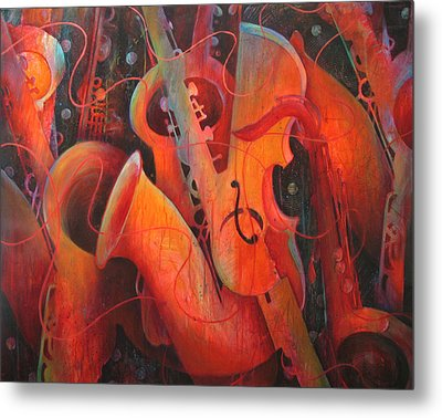 Saxy Cellos Metal Print by Susanne Clark