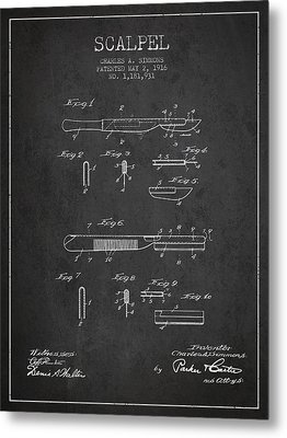 Scalpel Patent From 1916 - Dark Metal Print by Aged Pixel