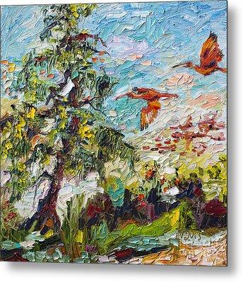 Scarlett Ibis Wildlife Tropical Summer Metal Print by Ginette Callaway