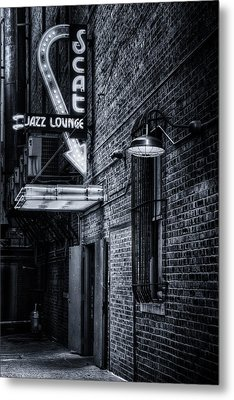 Scat Lounge In Cool Black And White Metal Print by Joan Carroll