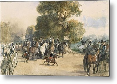 Scene In Hyde Park Metal Print by Eugene-Louis Lami