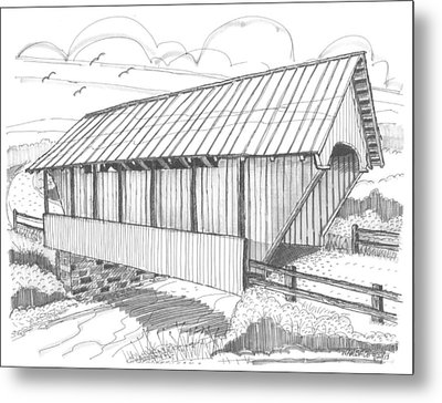 School House Covered Bridge Metal Print by Richard Wambach
