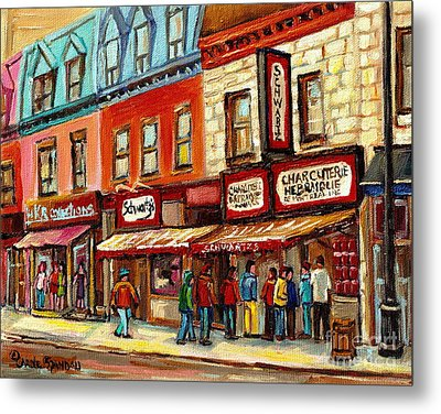 Schwartz The Musical Painting By Carole Spandau Montreal Streetscene Artist Metal Print by Carole Spandau