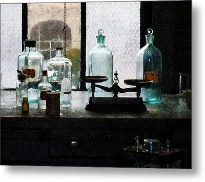 Science - Balance And Bottles In Chem Lab Metal Print by Susan Savad