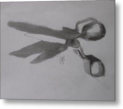 Scissors Metal Print by AJ Brown