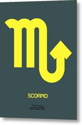 Scorpio Zodiac Sign Yellow Metal Print by Naxart Studio