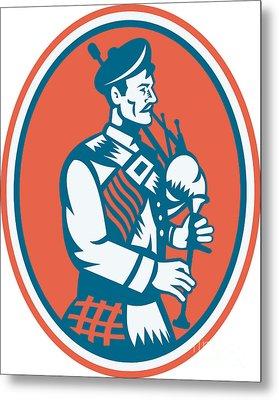 Scotsman Scottish Bagpipes Retro Metal Print by Aloysius Patrimonio