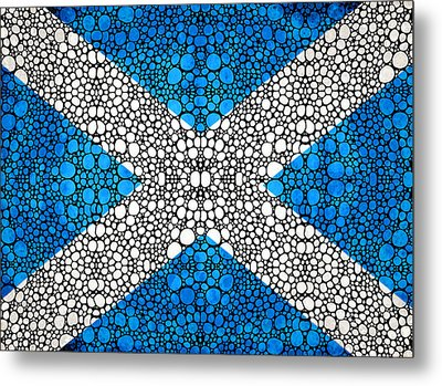 Scottish Flag - Stone Rock'd Scotland Art By Sharon Cummings Metal Print by Sharon Cummings