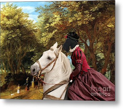 Scottish Terrier Art - Pasague With Horse Lady Metal Print by Sandra Sij