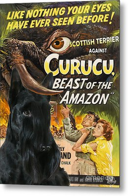 Scottish Terrier Art Canvas Print - Curucu Movie Poster Metal Print by Sandra Sij