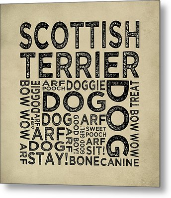 Scottish Terrier Typography Metal Print by Flo Karp