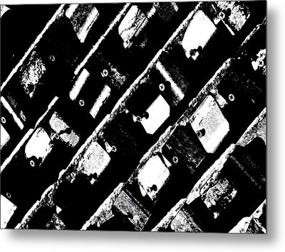 Screwed Metal Tab Abstract Metal Print by Chris Berry