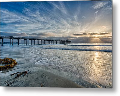 Scripps Pier Sky And Motion Metal Print by Peter Tellone