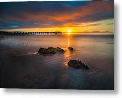 Scripps Pier Sunset 2 Metal Print by Larry Marshall