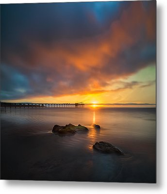 Scripps Pier Sunset 2 - Square Metal Print by Larry Marshall