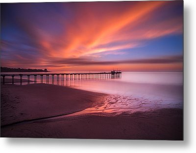 Scripps Pier Sunset Metal Print by Larry Marshall