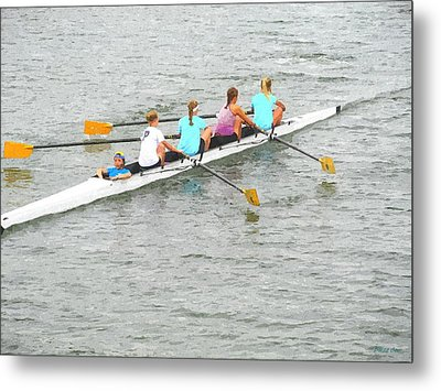 Sculling Team On Palm River  Metal Print by Buzz  Coe