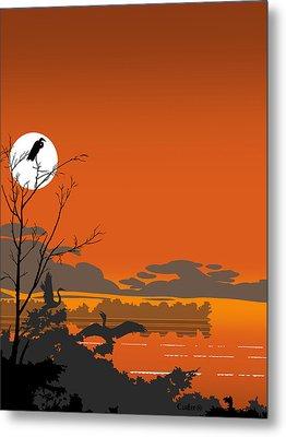 Abstract Tropical Birds Sunset Large Pop Art Nouveau Landscape 4 - Middle Metal Print by Walt Curlee