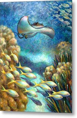 Sea Food Chain - Stingray Metal Print by Nancy Tilles