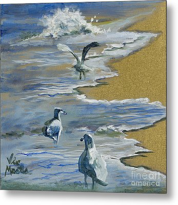 Sea Gulls With Gold Leaf By Vic Mastis Metal Print by Vic  Mastis