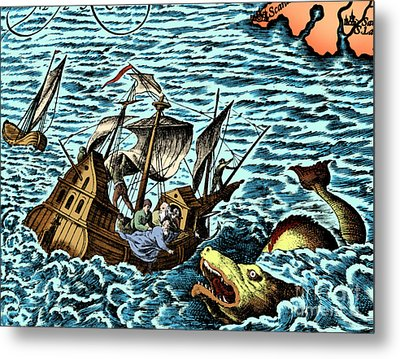 Sea Monster Attacking Ship, 1583 Metal Print by Science Source